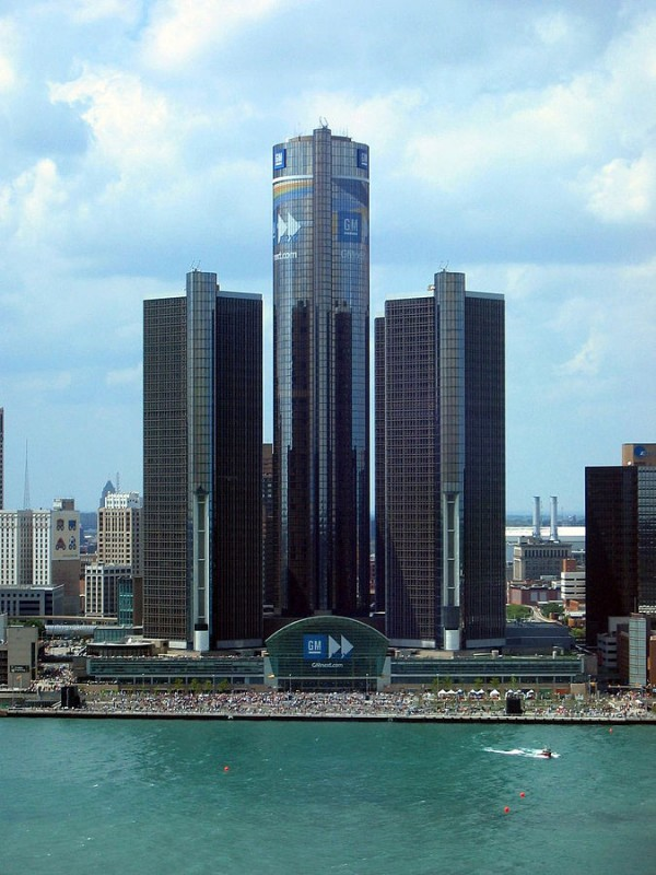 Above, the Renaissance Center, GM World Headquarters in Detroit, Michigan. Photo: Yavno/Wikipedia