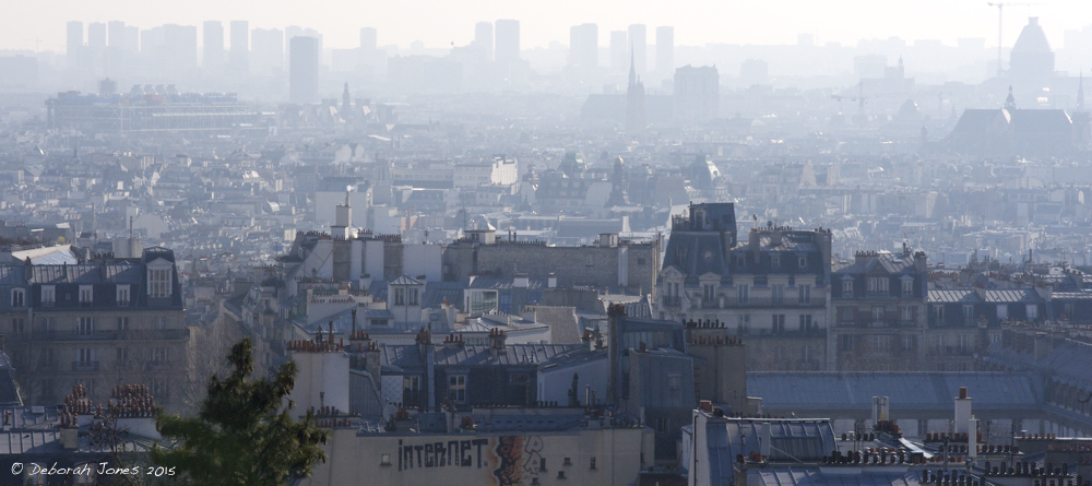 The carbon we are releasing has only two places to go: the atmosphere that clings like film to Earth's gravity, or the heavier oceans that fill the hollows in its crust.  Above, Paris under smog. Photo Deborah Jones © 2015