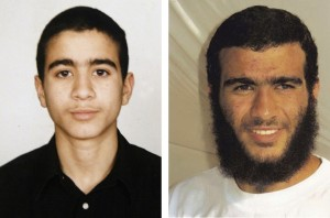 Omar Khadr as a child, and an adult prisoner at  Guantánamo Bay.