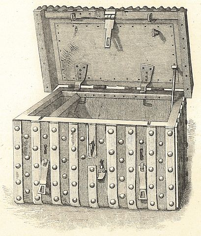 The Domesday chest used to store the Domesday Book of Somersetshire, photozincographic edition (Southampton, 1862). Public Domain via Wikimedia Commons