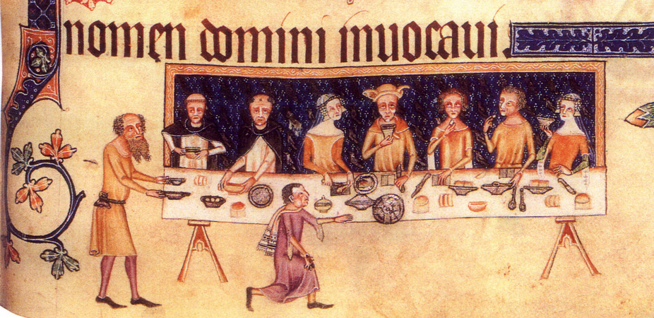 Dining room scene from the Luttrell Psalter, 1325-1335