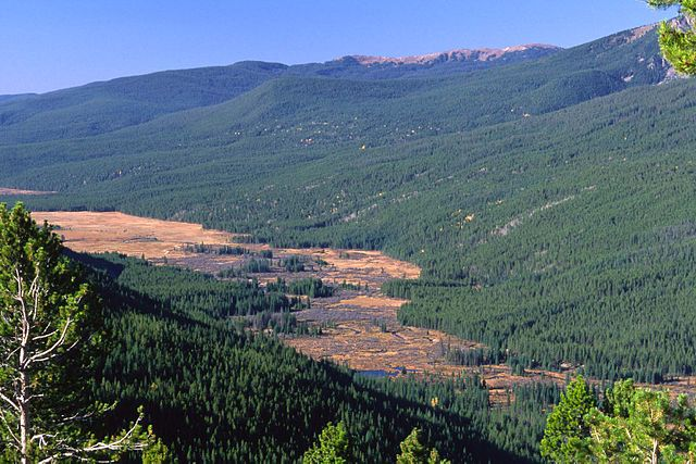 The Kawuneeche Valley near the source of the river in the Rockies. Photo by Darekk2 , Creative Commons via Wikimedia