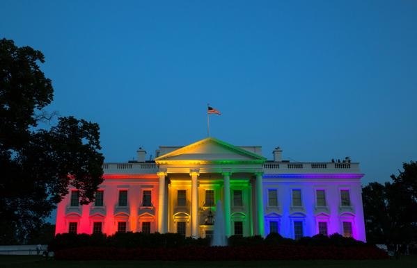 The White House came alight Friday evening in the colours of the rainbow to celebrate the court ruling. White House photo, public domain.