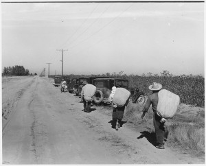 Cotton pickers on their way to the cotton wagon, Pinal County, Arizona, 1940. Photo: U.S. Department of Agriculture, public domain