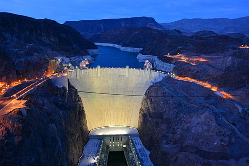 The Hoover Dam at night. Photo by Gayinspandex via Wikimedia, Creative Commons