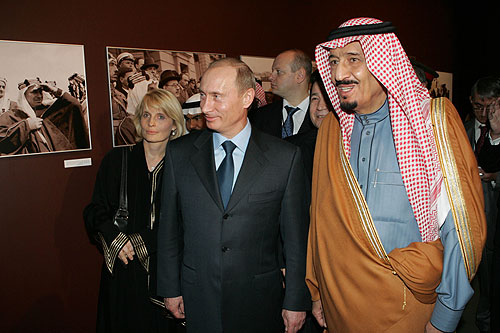 Vladimir Putin with Salman, now king, in Saudi Arabia in 2007. Photo handout by Kremlin.ru, Creative Commons