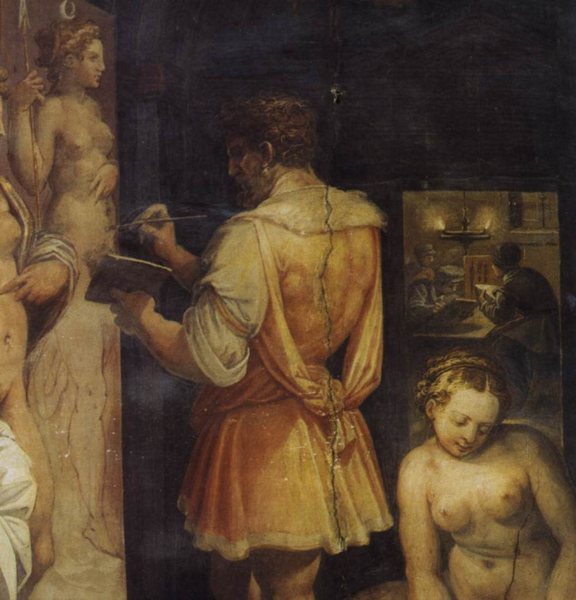 A detail from Giorgio Vasari's 1563 fresco, The Studio of the Painter – which depicts Zeuxis at work on his trompe l'oeuil images. Wikimedia Commons