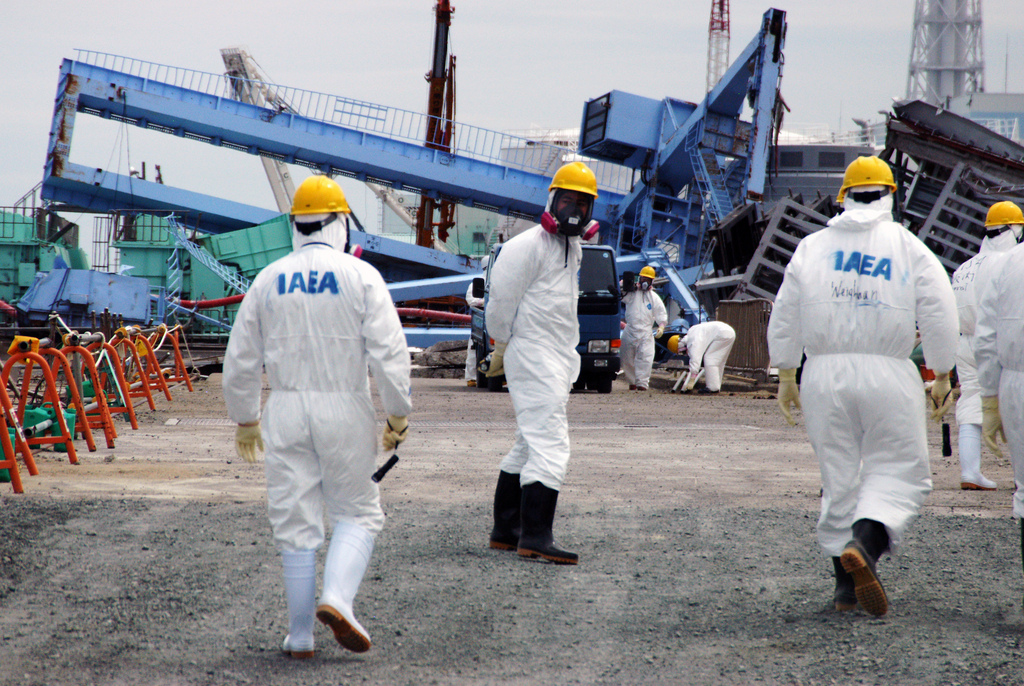 Members of the IAEA fact-finding team in Japan visit the Fukushima Daiichi Nuclear Power Plant May 27, 2011, to examine the devastation wrought by the 11 March earthquake and tsunami. Copyright: IAEA Imagebank, photo by Greg Webb IAEAhttps://www.flickr.com/photos/iaea_imagebank/5765318454/in/album-72157626815913418/