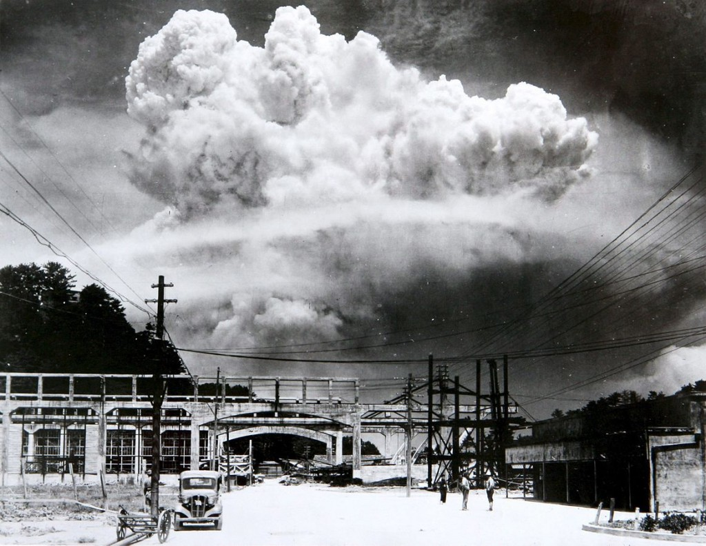 Atomic cloud over Nagasaki from Koyagi-jima, by Hiromichi Matsuda, Public Domain via Wikipedia