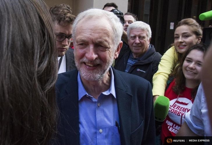 Jeremy Corbyn, the new leader of Britain's opposition Labour Party greets supporters after speaking in a pub in London, Britain September 12, 2015. REUTERS/Neil Hall