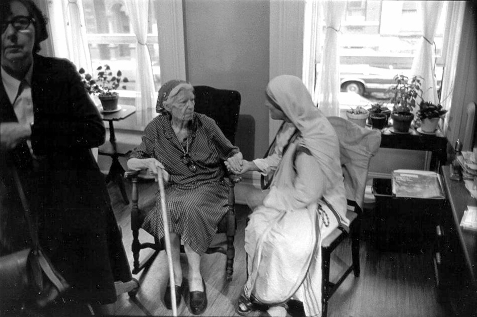 Dorothy's last meeting with Mother Teresa, in Dorothy's room at Maryhouse in Manhattan. Eileen Egan is on the left. The photo was taken in 1979, the year before Dorothy's death, by Bill Barrett. (Marquette University Archives via Jim Forest, Flickr)
