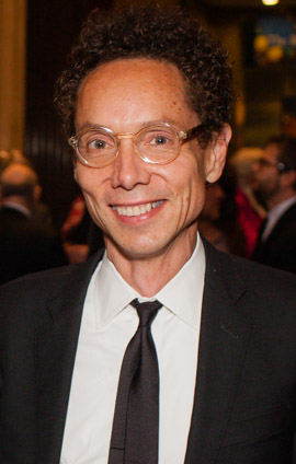 """Malcolm Gladwell. Photo from PEN American Center - Philip Kerr and Malcolm Gladwell."