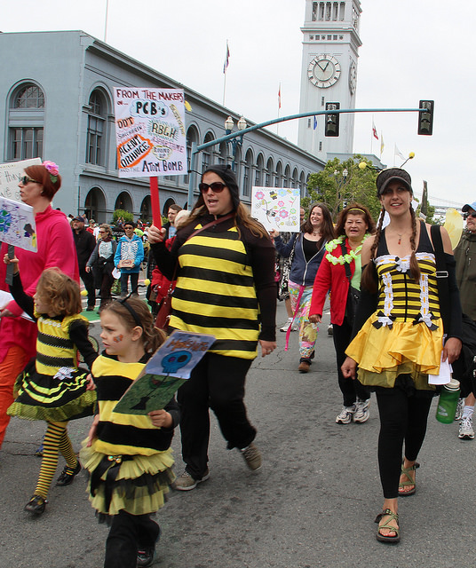 "Protesters in a ""March Against Monsanto"" in San Francisco, May, 2015. Peg Hunter/Flickr"