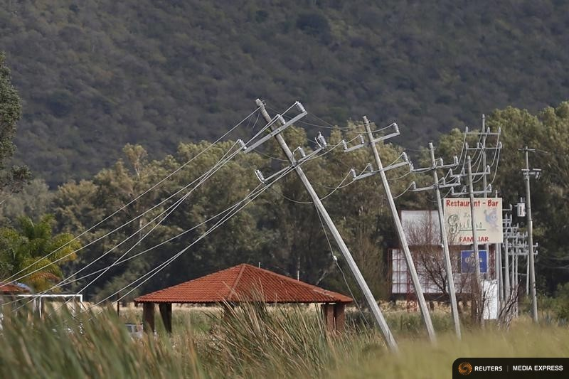 Electricity poles impacted by wind after the passing of Hurricane Patricia are seen in La Union de Tula, Mexico October 24, 2015. REUTERS/Edgard Garrido
