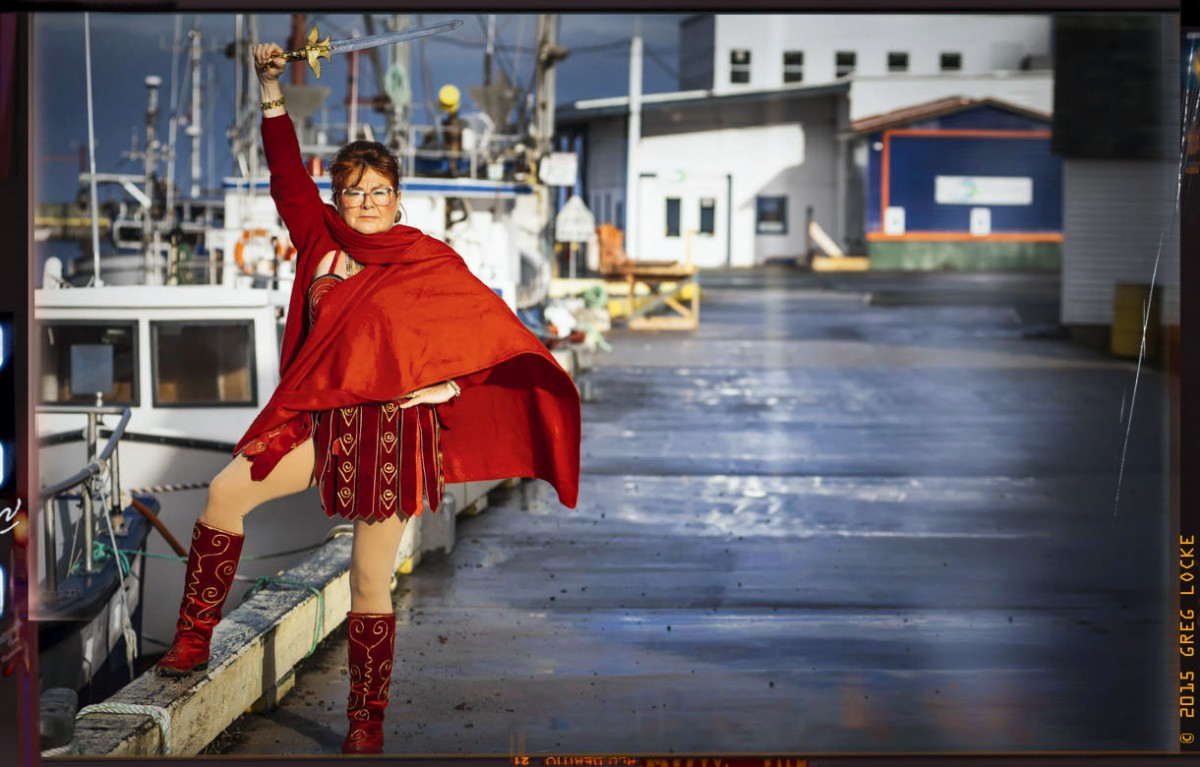 MARG! Princess Warrior, a character of writer, actor and comedian Mary Walsh, urged Canadians to vote to defeat the Harper Government. Greg Locke © 2015