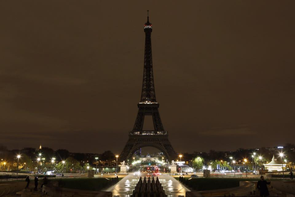 The Eiffel Tower in mourning on November 14, via Mayor of Paris Anne Hidalgo.