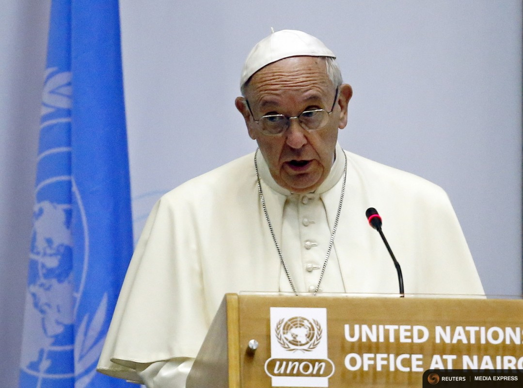Pope Francis speaks at the United Nations headquarters in Kenya's capital Nairobi, November 26, 2015. REUTERS/Stefano Rellandini