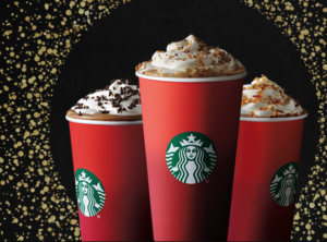 Starbucks red cups, advertising image