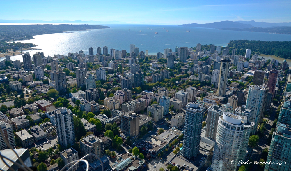 Vancouver, looking west toward English Bay and the city's West Side, left. Photo by Gavin Kennedy, Copyright 2013