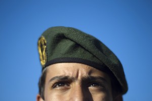 A member of Iran's Revolutionary guard stands at attention during an anti-U.S. ceremony in Azadi (freedom) Square in Tehran April 25, 2010. REUTERS/Morteza Nikoubazl