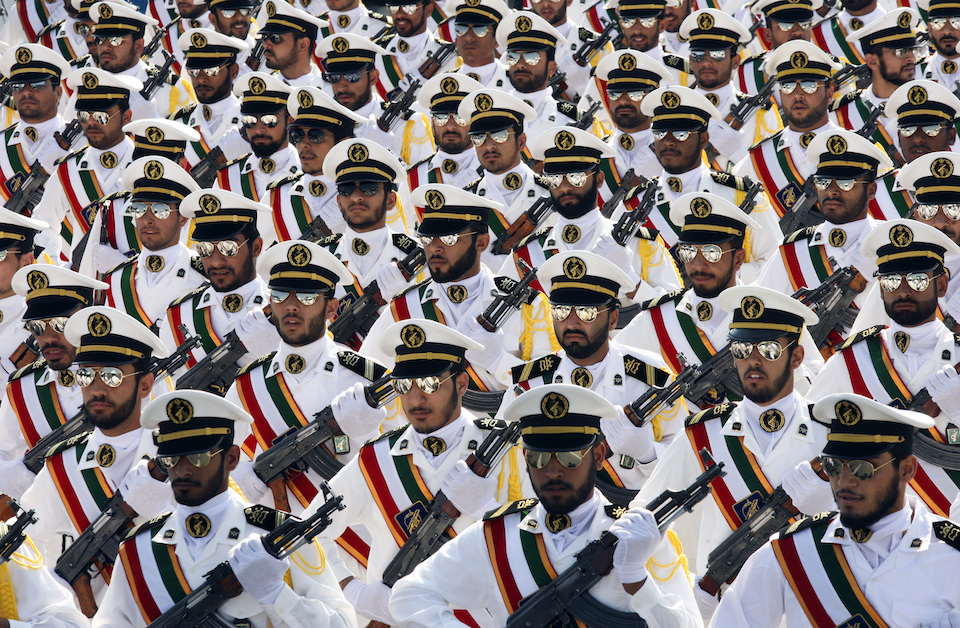 Members of the Iranian Revolutionary Guard Navy march during a parade to commemorate the anniversary of the Iran-Iraq war (1980-88), in Tehran September 22, 2011. REUTERS/Stringer