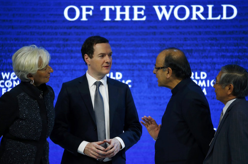 "(L-R) Christine Lagarde, Managing Director of the International Monetary Fund (IMF), George Osborne, Britain's Chancellor of the Exchequer, Arun Jaitley, Minister of Finance of India and Haruhiko Kuroda, Governor of the Bank of Japan talk after the session ""The Global Economic Outlook"" during the annual meeting of the World Economic Forum (WEF) in Davos, Switzerland January 23, 2016. REUTERS/Ruben Sprich"