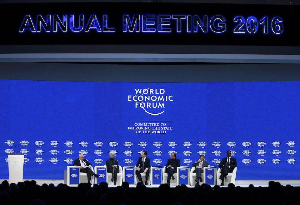 "(L-R) Martin Wolf, Associate Editor at the Financial Times, Christine Lagarde, Managing Director of theInternational Monetary Fund (IMF), George Osborne, Britain's Chancellor of the Exchequer, Arun Jaitley, Minister of Finance of India, Haruhiko Kuroda, Governor of the Bank of Japan and Tidjane Thiam, Chief Executive Officer of Credit Suisse attend the session ""The Global Economic Outlook"" during the annual meeting of the World Economic Forum (WEF) in Davos, Switzerland January 23, 2016. REUTERS/Ruben Sprich"
