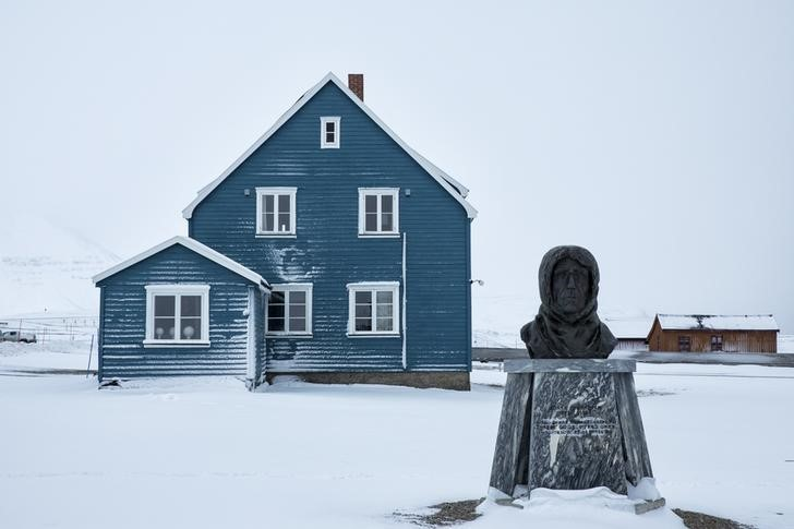 "A scupted bust of Norwegian explorer Roald Amundsen is seen at the scientific base of Ny Alesund, in Norway, October 18, 2015. A Norwegian chain of islands just 1,200 km (750 miles) from the North Pole is trying to promote new technologies, tourism and scientific research in a shift from high-polluting coal mining that has been a backbone of the remote economy for decades. Norway suspended most coal mining on the Svalbard archipelago last year because of the high costs, and is looking for alternative jobs for about 2,200 inhabitants on islands where polar bears roam. Part of the answer may be to boost science: in Ny-Alesund, the world's most northerly permanent non-military settlement, scientists from 11 nations including Norway, Germany, France, Britain, India and South Korea study issues such as climate change. The presence of Norway, a NATO member, also gives the alliance a strategic foothold in the far north, of increasing importance after neighbouring Russia annexed Ukraine's Crimea region in 2014. REUTERS/Anna FilipovaPICTURE 09 OF 19 - SEARCH ""SVALBARD FILIPOVA"" FOR ALL IMAGES"