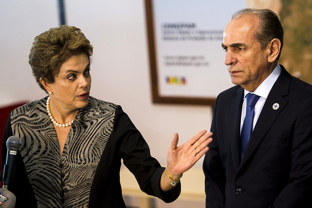 President Dilma Rouseff and minister of health Marcelo Castro of Brazil discuss plans to combat the Aedes aegypti mosquito on Jan. 29, 2016. Photo: Brazil Agência Brasil Fotografias/Creative Commons