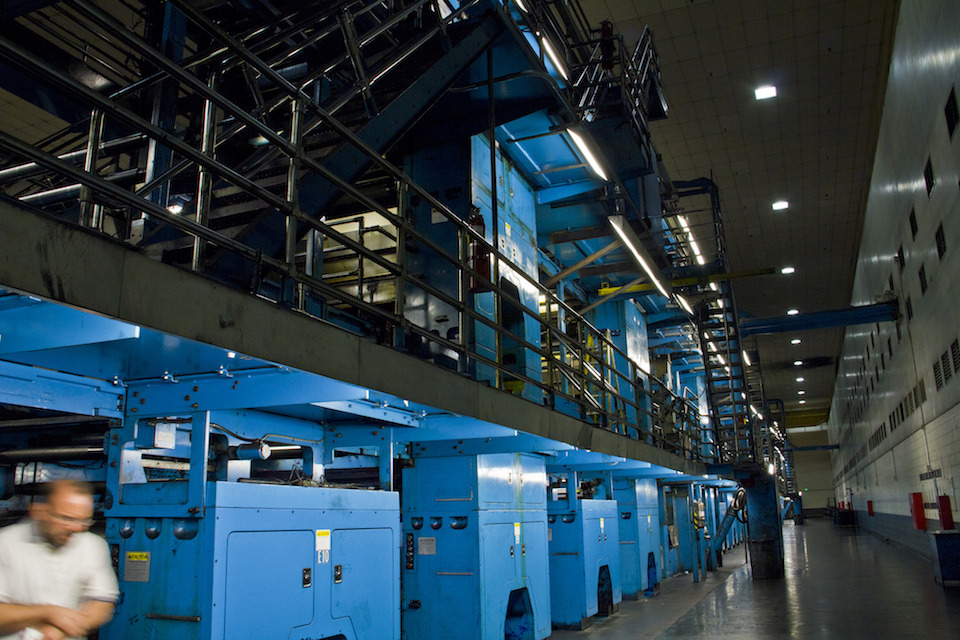 Six units of Goss Colorliner presses print up to 96-page newspapers at a rate of up to 70,000 newspapers an hour. Photo: Neon Tommy
