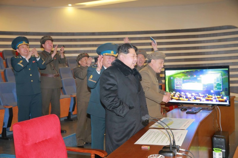 North Korean leader Kim Jong Un reacts as he watches a long range rocket launch in this undated photo released by North Korea's Korean Central News Agency (KCNA) in Pyongyang February 7, 2016.   REUTERS/KCNA