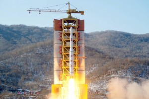 A North Korean long-range rocket is launched into the air at the Sohae rocket launch site, North Korea, in this photo released by Kyodo February 7, 2016. Mandatory credit REUTERS/Kyodo