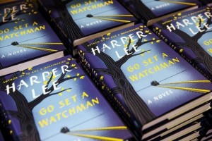 """Copies of Harper Lee's book """"Go Set a Watchman"""" are displayed on a table inside of a Barnes & Noble store in New York, July 14, 2015. REUTERS/Lucas Jackson"""