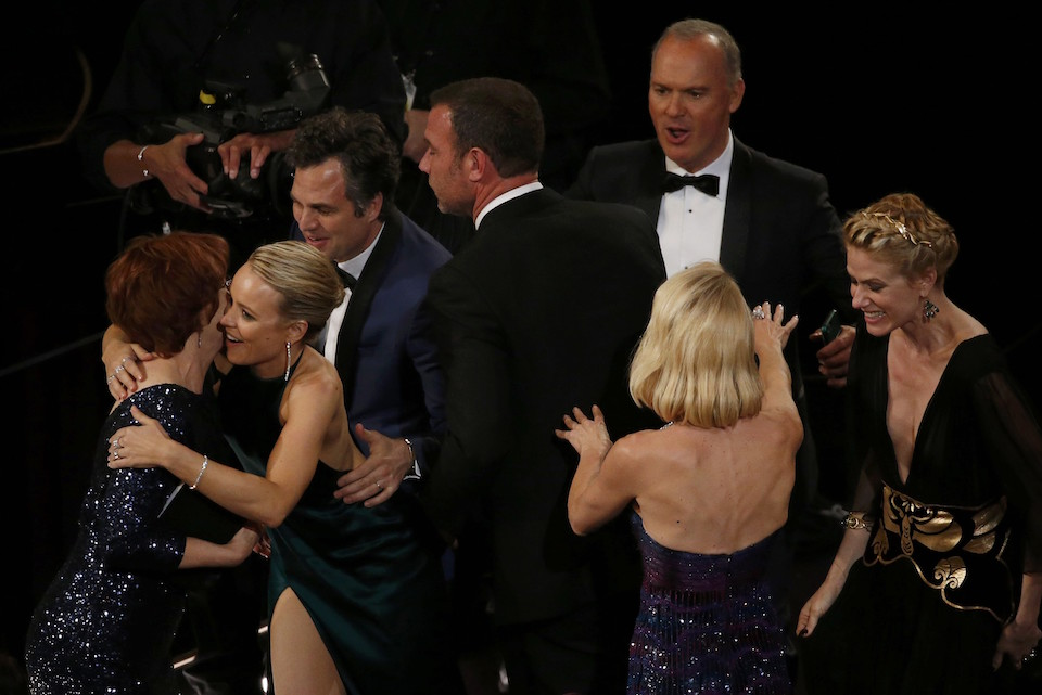 "The cast of the film ""Spotlight"" react after they won the Oscar for Best Picture at the 88th Academy Awards in Hollywood, California February 28, 2016. REUTERS/Mario Anzuoni"