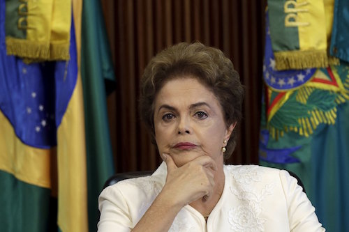 Brazil's President Dilma Rousseff looks on during a meeting with state governors at the Planalto Palace in Brasilia, Brazil March 4, 2016. REUTERS/Ueslei Marcelino