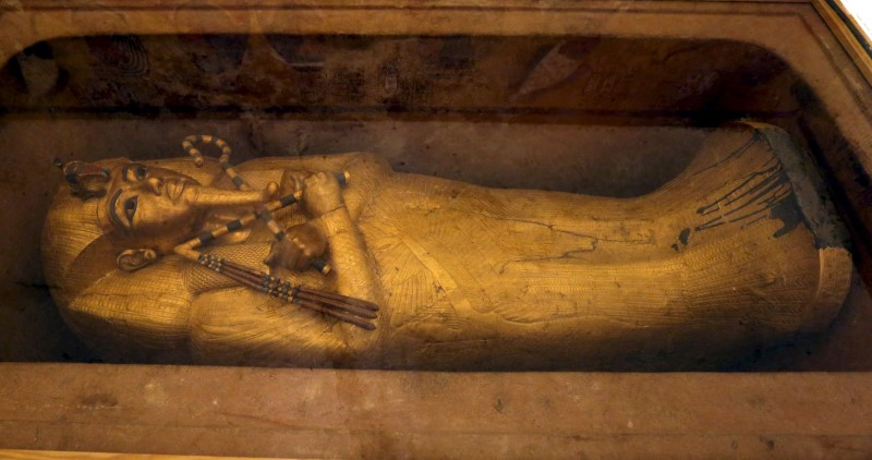 The golden sarcophagus of King Tutankhamun in his burial chamber is seen in the Valley of the Kings, in Luxor, Egypt, November 28, 2015 file photo.REUTERS/Mohamed Abd El Ghany/Files