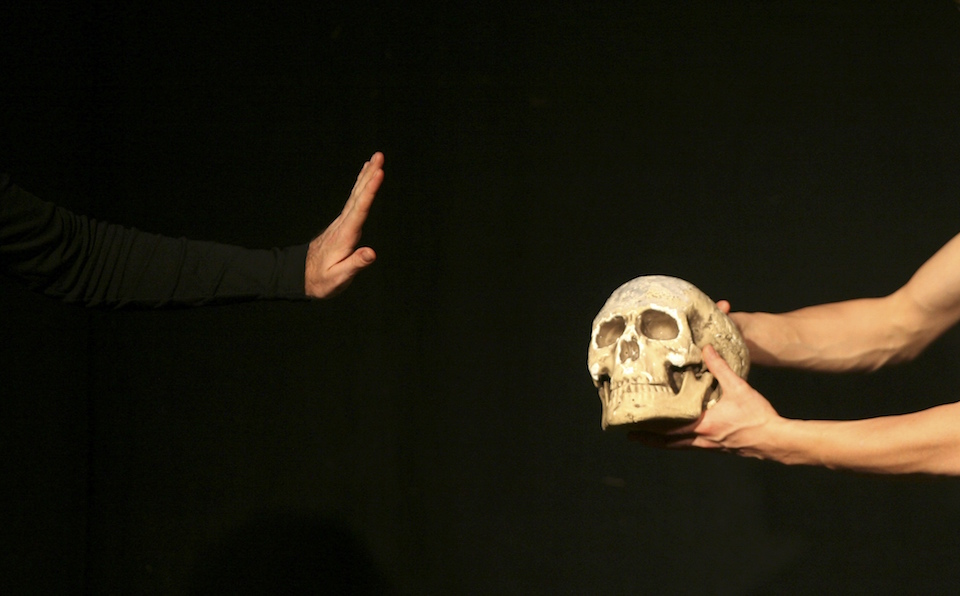 "An actor performs during William Shakespeare's theatre play ""Hamlet"" at the Jerusalem Centre for the Performing Arts in this file photograph dated December 11, 2008. REUTERS/ Eliana Aponte/files"