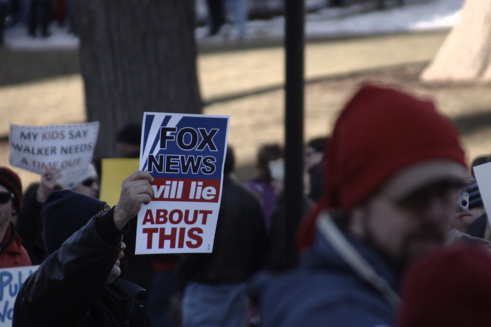 by Patrick Finn2gan/ Wisconsin Union Protest Fox News signs Creative Commons