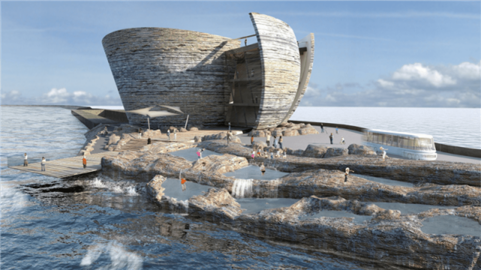 The proposed Tidal Lagoon Swansea Bay power station consists of a large artificial lagoon formed by a sea wall, with water allowed in and out through underwater electricity turbines. Electricity is harvested from the difference between low and high tides.