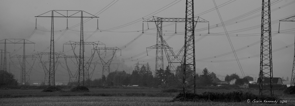 Meeting human demand for food, housing, water and other goods and services has transformed more than half of the planet into farms, cities, roads and dams. Above, powerlines in Western Canada © Gavin Kennedy 2015