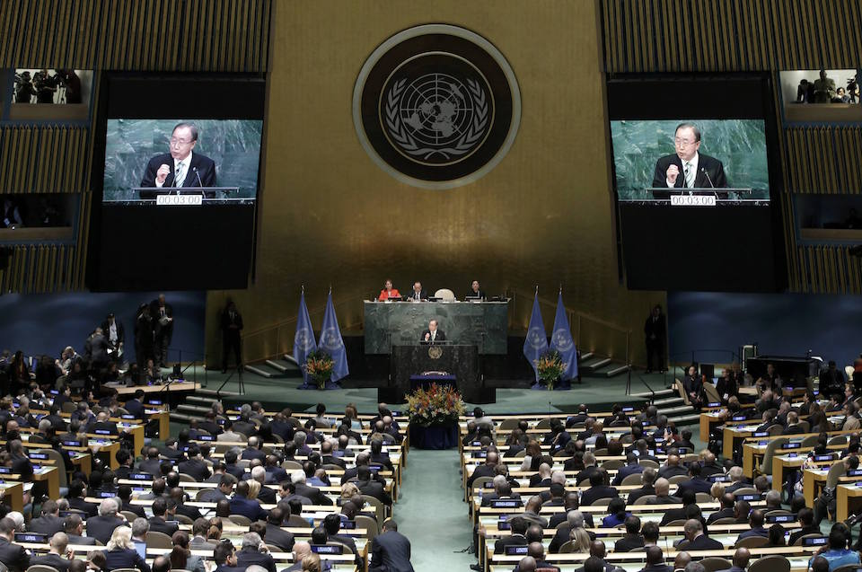Ban Ki-moon, Secretary-General of the United Nations, delivers his opening remarks at the Paris Agreement signing ceremony on climate change at the United Nations Headquarters in Manhattan, New York, U.S., April 22, 2016. REUTERS/Mike Segar