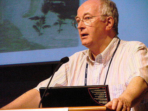 Above, Philip Pullman speaking at a literary event in 2008. Photo by Anna_t via Flickr, Creative Commons