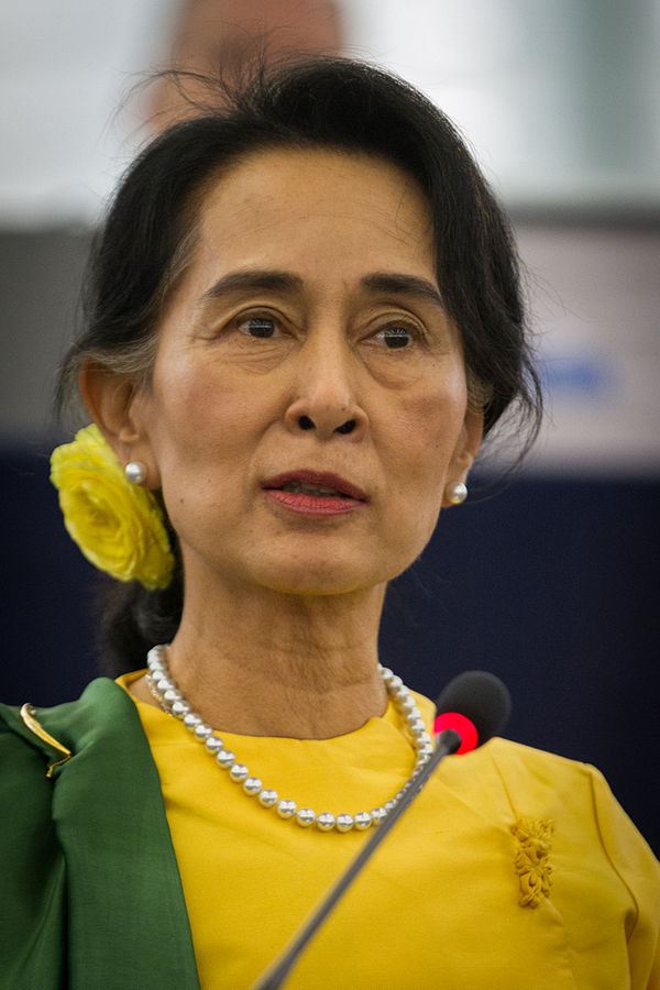 Aung San Suu Kyi in 2013 By Claude TRUONG-NGOC via Wikipedia, CC BY-SA 3.0