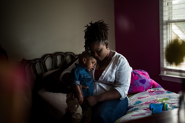 Marquita Smiley and her son, Zaidan. (Bob Miller for ProPublica)