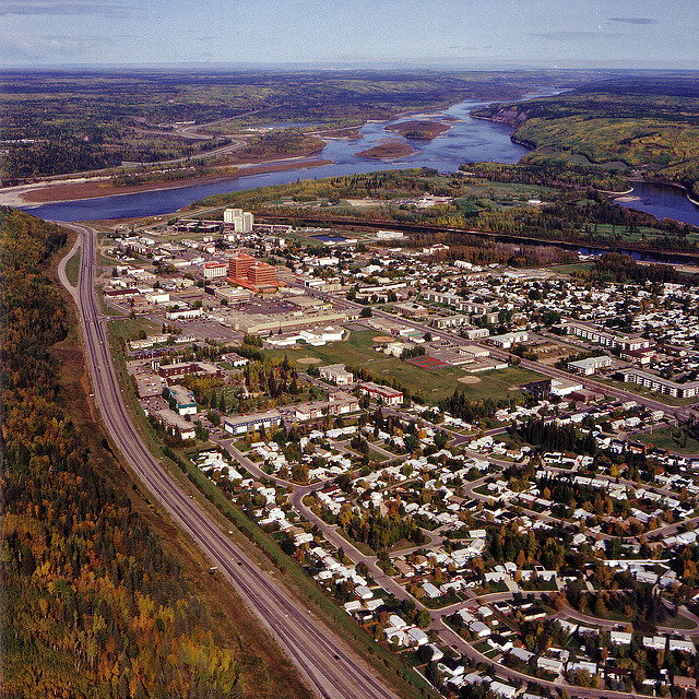 Downtown Fort McMurray in 1991, at the confluence of the Clearwater and Athabasca Rivers. Photo by Gord McKenna via Flickr, Creative Commons