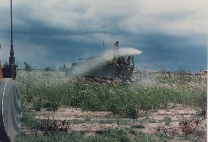 U.S. Army armored personnel carrier (APC) spraying Agent Orange during the Vietnam War. Photo: U.S. Army Operations in Vietnam R.W. Trewyn, Ph.D. , (10) APC Defoliation National Archives: 111-CC-4966 originally found in Box 1 Folder 9 of Admiral Elmo R. Zumwalt, Jr. Collection