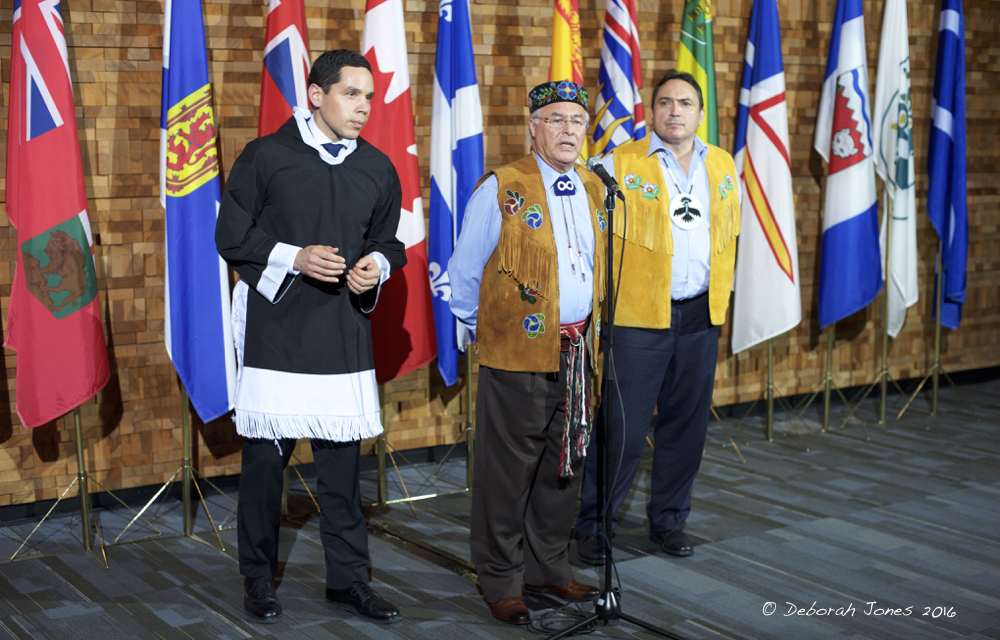While protesting that they were not fully included in government meetings, First Nations were at the table before a rare First Minister's meeting March 2, 2016, in Vancouver. Above, President Natan Obed of the Inuit Tapiriit Kanatami, Métis National Council President Clément Chartier, and Assembly of First Nations National Chief Perry Bellegarde. © Deborah Jones 2016