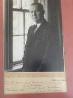 "A photo from Lester Pearson to Tom Regan's father: ""To my constant conductor and guide, Jim Regan. Lester Pearson, Christmas 1963."""
