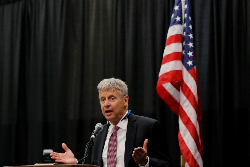 Libertarian Party presidential candidate Gary Johnson speaks during the Cannabis World Congress & Business Exposition in New York, U.S. June 16, 2016. REUTERS/Lucas Jackson