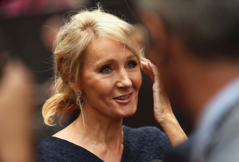 Author J.K. Rowling speaks to media as she arrives at a gala performance of the play Harry Potter and the Cursed Child parts One and Two, in London, Britain July 30, 2016. REUTERS/Neil Hall